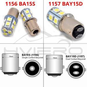 Image 2 - 10X 1156 BA15S 1157 BA15D BAY15D P21W 13Led רכב Led לוחית רישוי אור זנב איתות אוטומטי בלם הפוך הנורה תא מטען מנורה