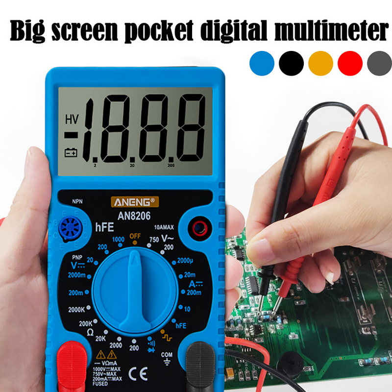 Digital Multimeter Large Screen Pocket Electrician's Tool Box With Table  Multimeter AC/DC Ammeter Resistance Tester