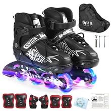 Inline-Skates Adjustable Wheels Illuminating Girls Kids with for Boys Ladies