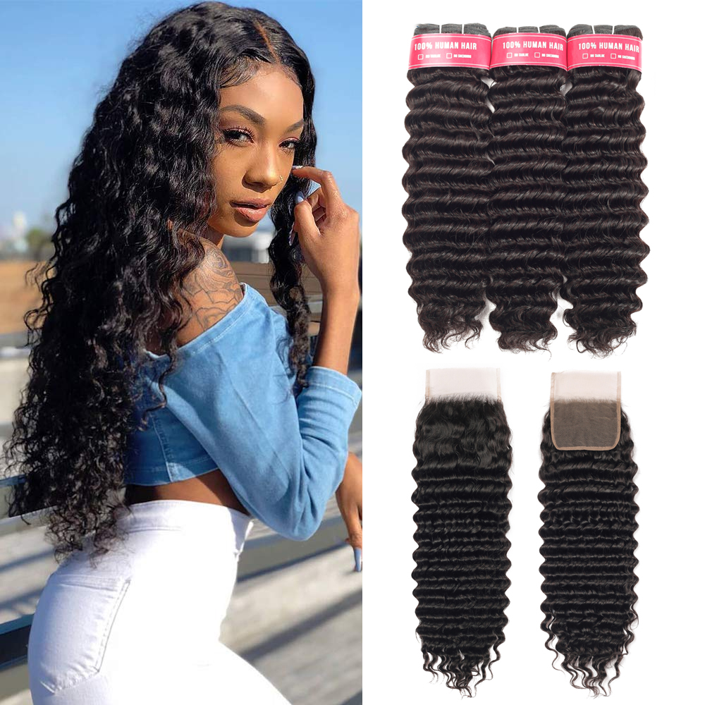 Mongolian Deep Wave Curly Human Hair Bundles With Closure Hair Extensions 3Bundles With Closure Remy Curly Bundles With Closure