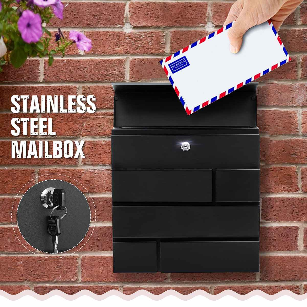 Outdoor Retro Wall Mounted Mailbox Mail Postal Letter Newspaper Box w// 2 Keys