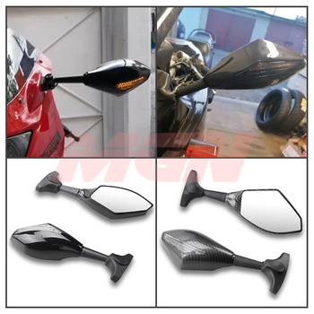 Black Motorcycle Front Back LED Turn Signal Integrated Mirrors for HONDA CBR 600RR 1000RR F3 F4 Yamaha FZ1 FAZER Suzuki SV650 image