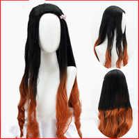 LVHAN Kamado Nezuko peluca Cosplay Natural negro Gradual naranja Pelo Largo rizado alta calidad fibra de alta temperatura