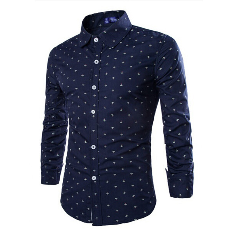 ZOGAA Casual Business Dress Shirt Men Long Sleeve Slim-fit Shirts Solid Floral Formal Office Shirt Male Turn- Down Collar Blouse