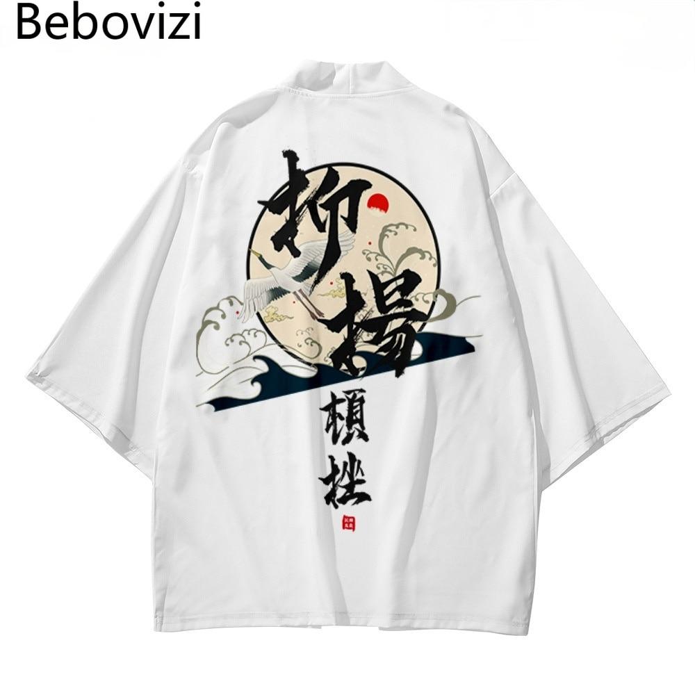 Chinese Style Japanese Samurai Harajuku White Kimono Suit Cardigan Women Men Cosplay Yukata Tops Pants Set Plus Size 5XL 6XL