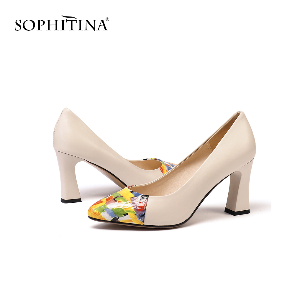 SOPHITINA Elegant Unique Pumps High Quality Genuine Leather Comfortable Square Heel Shoes Sexy Pointed Toe Women's Pumps SO155