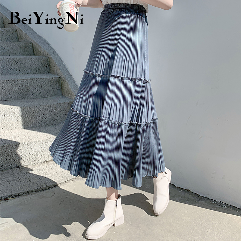 Beiyingni Pleated Skirt Women Vintage Casual Chiffon Shift Long High Waist Skirts Womens Patchwork Midi Saia Black White Faldas