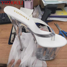 Stage-Shoes Transparent Slippers Flip-Flops Sexy with 20cm High-Girl Queen Soles Slender