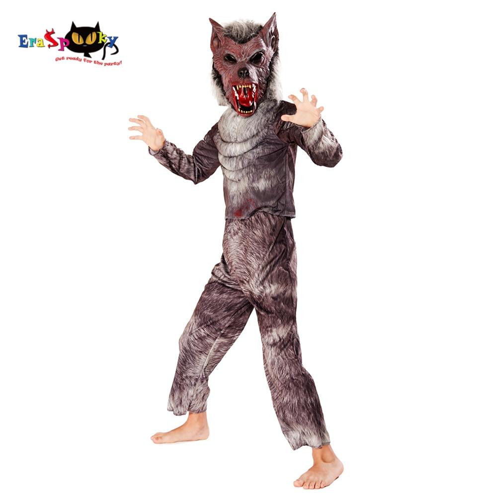 Eraspooky Scary 3D Print Bloody Werewolf Cosplay Boys Halloween Costume For Kids Werwolf Mask Children Party Fancy Dress