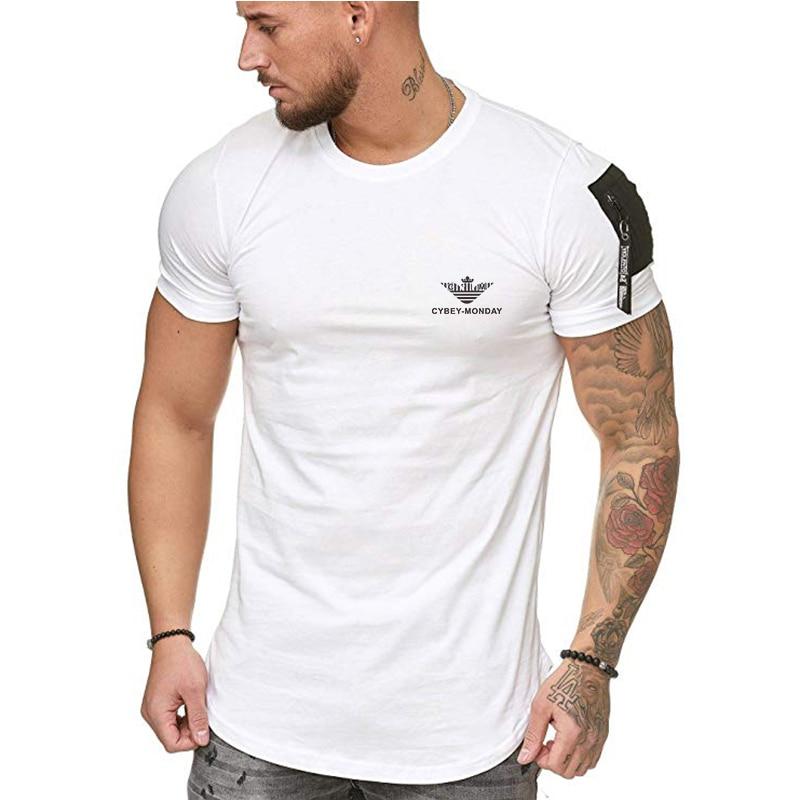Summer 2020 Fashion Casual T-shirt Men's Fashion Zipper Sleeve O-neck Hip Hop T-Shirt Top Cotton T-shirt Men's T-shirt Size S-5x
