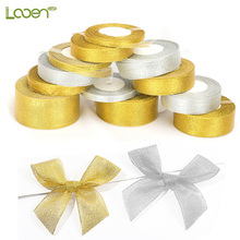 25 Yard 22M Gold Silver Glitter Satin Ribbons for Christmas Wedding Party Decoration DIY Craft Gift Packing Women