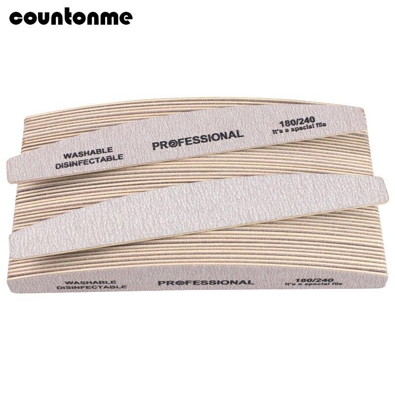 50 pçs cinza arquivo de unhas de madeira 180/240 profissional buffer de unhas de madeira 100/180 placa de esmeralda cal um ongle uv gel manicure polimento bloco