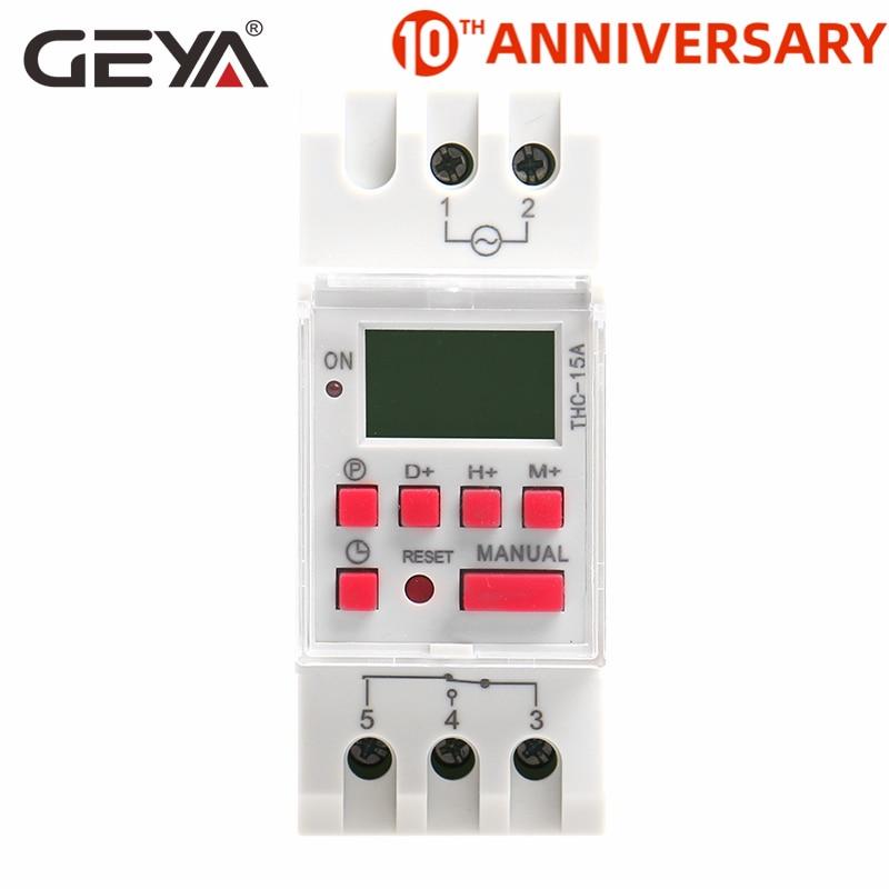 Free Shipping GEYA THC 15A Din Rail Digital Time Switch Weekly Programmable Timers 16A 12V 24V 110V 220V 240V|Timers|   - AliExpress