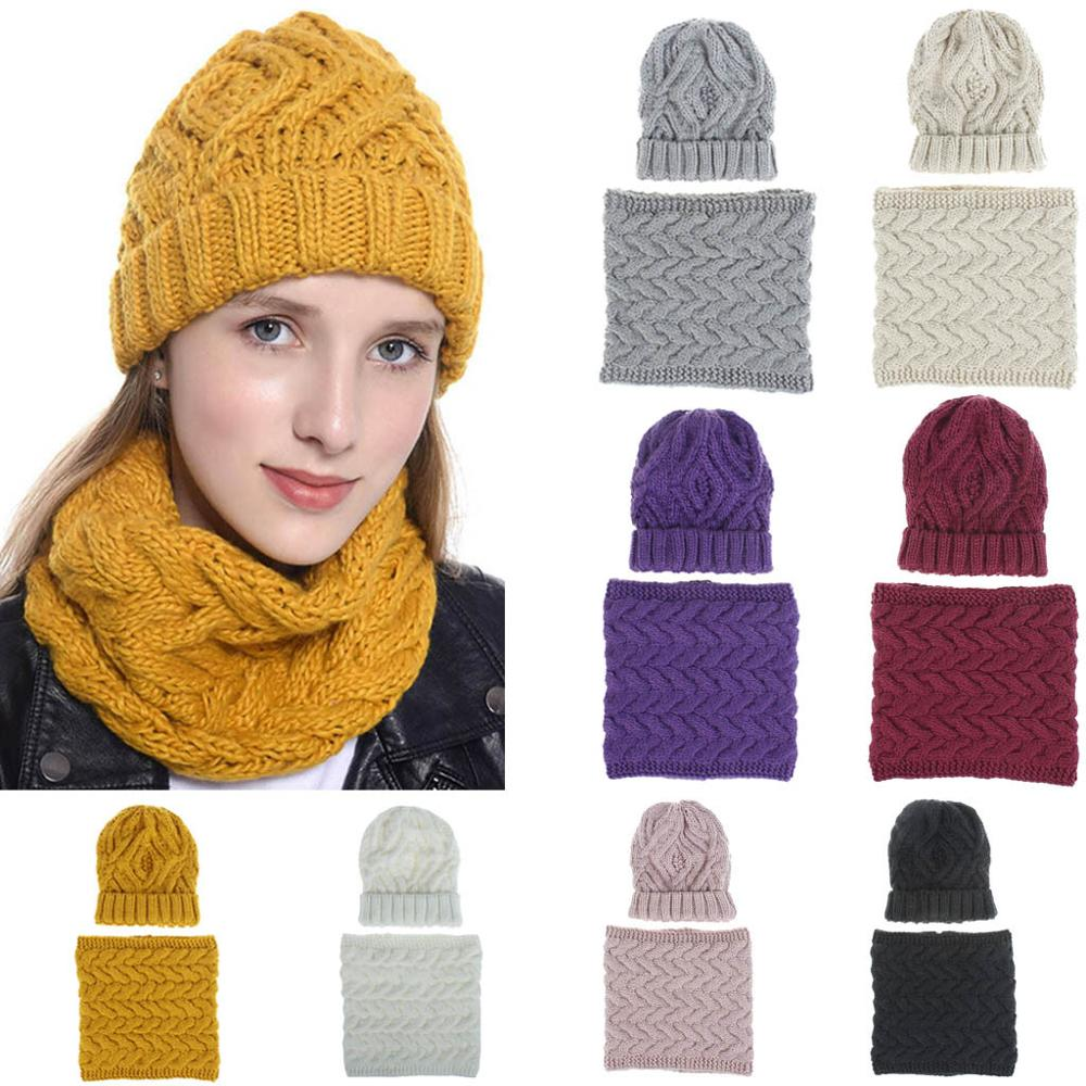 2019 Winter Hats For Woman 2Pcs  Warm Multicolor Knitted Venonat Beanie Hat+Neckerchief Set Ski Hat Czapka Zimowa Slouchy Caps