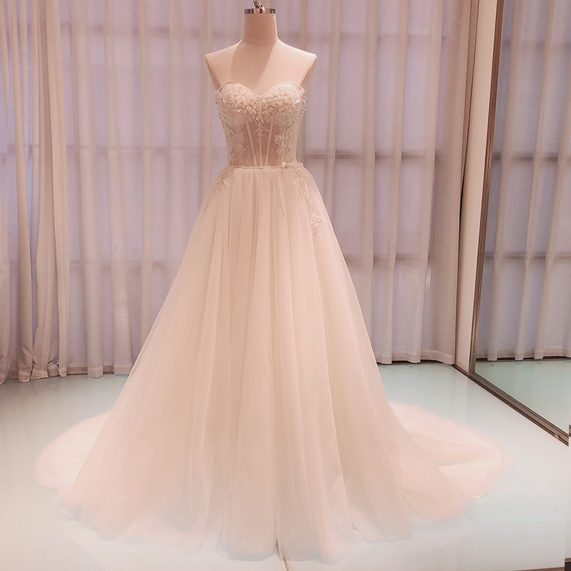 SL-8022 Gorgeous Appliques Court Train A-Line Wedding Dresses 2020 Luxury Beaded Strapless Backless Bridal Gown(China)