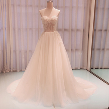 SL 8022 Gorgeous Appliques Court Train A Line Wedding Dresses 2020 Luxury Beaded Strapless Backless Bridal Gown robe de mariee