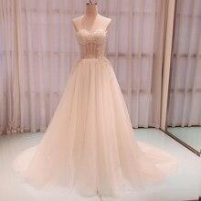 SL 8022 Wunderschöne Appliques Gericht Zug A linie Brautkleider 2020 Luxus Perlen Liebsten Backless Brautkleid robe de mariee