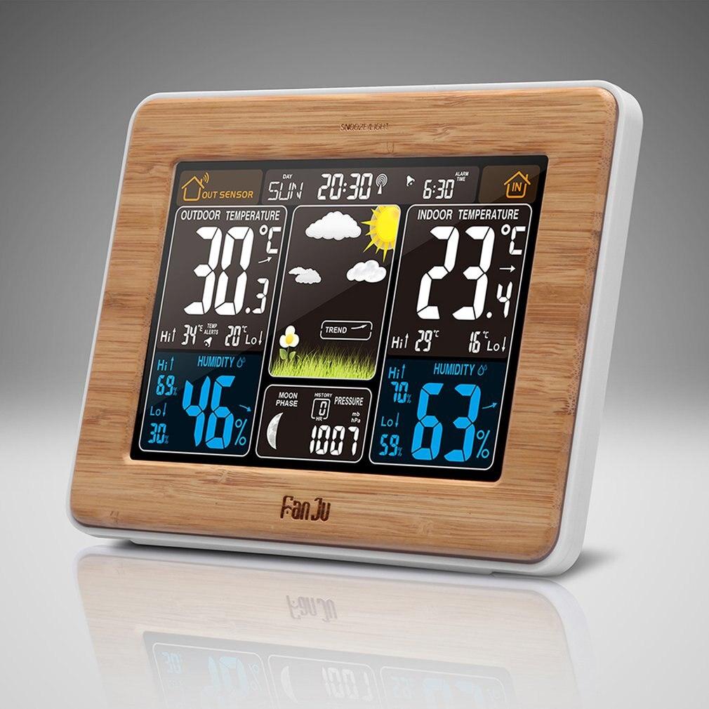 FanJu FJ3373 метеостанция барометр, термометр, гигрометр, беспроводной датчик, ЖК-дисплей, метеостанция, цифровой будильник