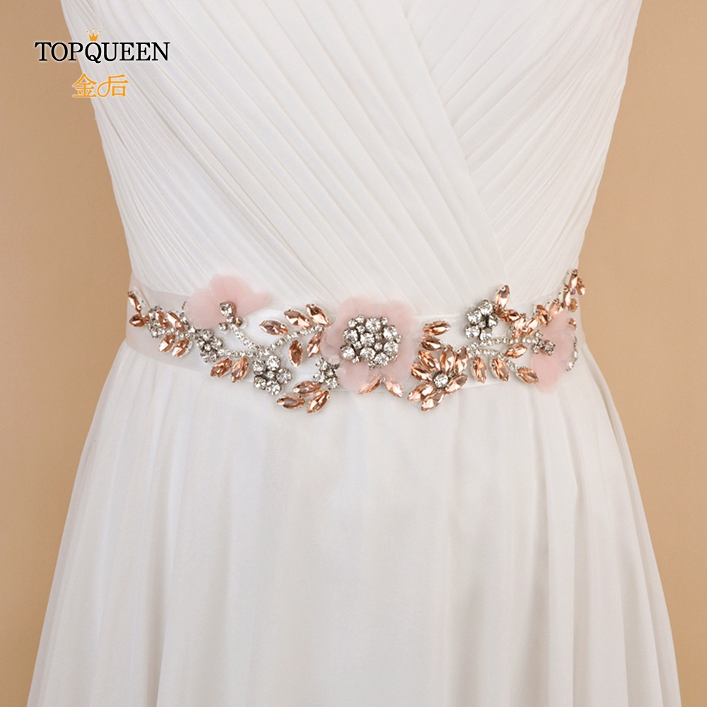 TOPQUEEN S419-R Pink Dress Sash Blush Pink Belts Bridal Sash For Wedding Gown Women Floral Rhinestone Belt Maternity Sashes