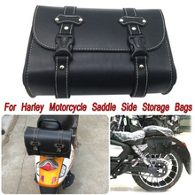 Universal Motorcycle Leather + Plastic Buckle Tool Saddle Bar Side Pouch Storage Bag Waterproof accessories