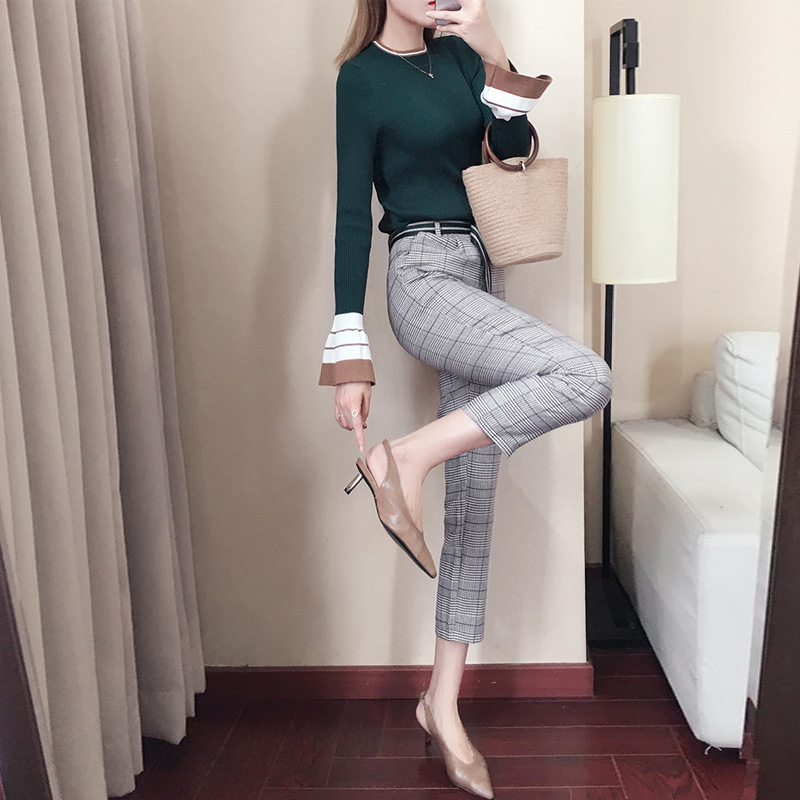 Autumn And Winter 2019 New Style High-waisted Suit   Pants   Women's   Capri   Casual Straight-Cut Plaid Harem Woolen   Pants   Wholesale 92