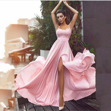 цена на Sexy Elegant A-line Prom Dresses Halter Long Pink Prom Dress With Side Slit Dresses Gala Evening Party Gown Abendkleider