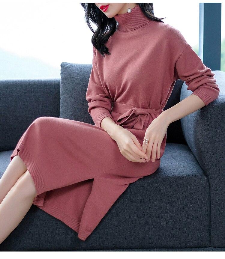 Korean Sweater Dress Fashion Women Knitted Dresses Elegant Women Plus Size Pleated Sweaters Dress Winter Women Dresses Vintage