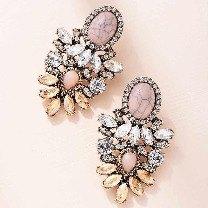 Pink Batu Kristal Bunga Drop Anting-Anting untuk Wanita Fashion Emas Berlian Imitasi Anting-Anting Modern Perhiasan Hadiah
