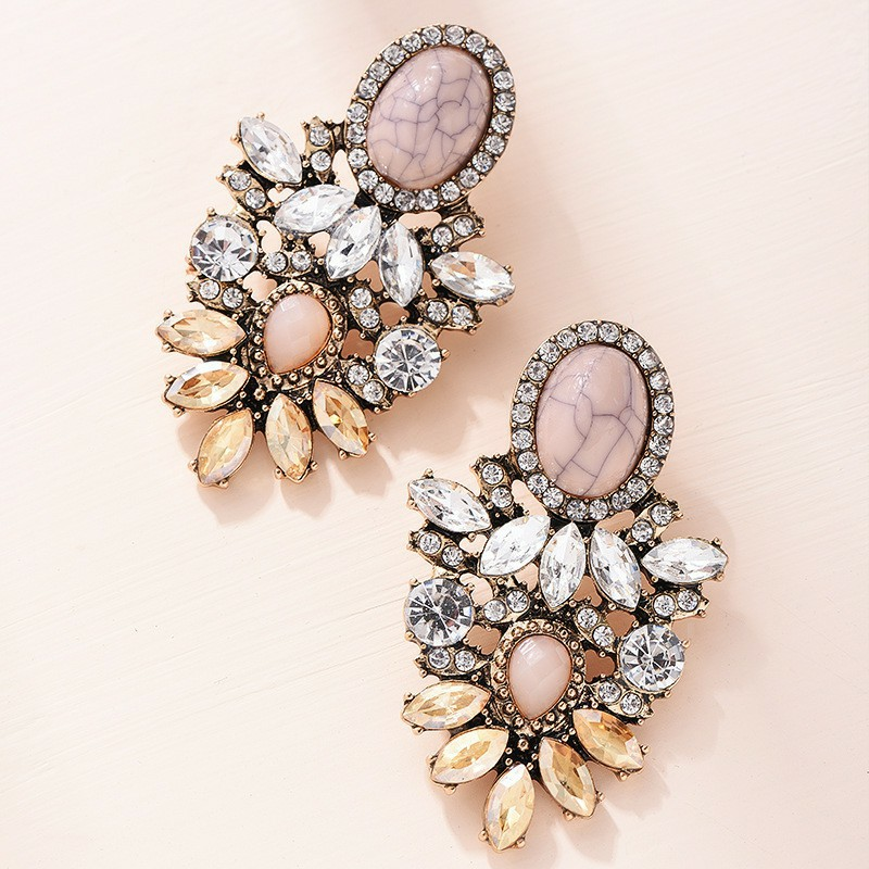 Pink Stone Crystal Flower Drop Earrings for Women Fashion Gold Rhinestones Earrings Modern Jewelry Gift(China)
