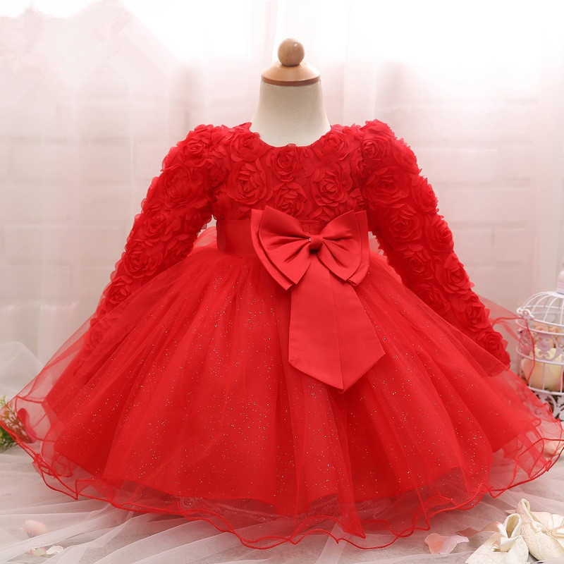 1St Birthday <font><b>Dress</b></font> For Baby <font><b>Girls</b></font> <font><b>Long</b></font> <font><b>Sleeve</b></font> Party <font><b>Dress</b></font> NewBorn <font><b>Christmas</b></font> <font><b>Red</b></font> Clothing 1 2 Years Old Toddler Christening Gowns image