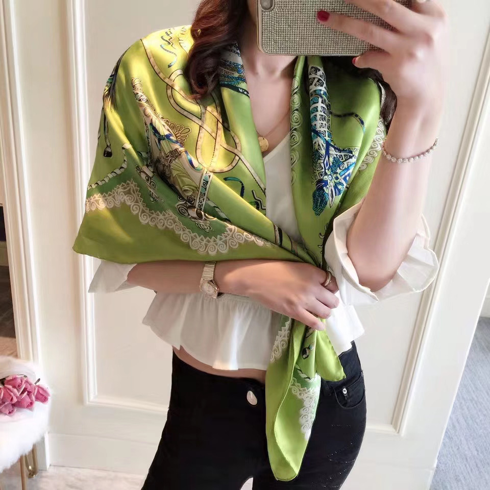 authentic silk scarf women apple green scarves large square elegant spring shawl and wraps lady paisley foulard hijab 110