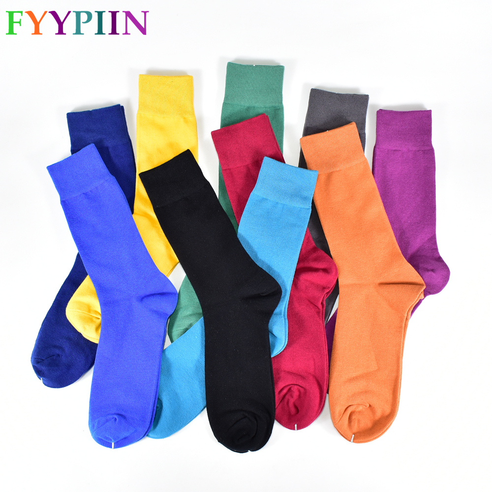 Men's Socks New 2020 Solid Color Cotton Socks Black Blue Red Purple Yellow Green Socks Colorful Full Dress Classic Socks Men