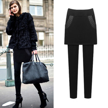 M 6XL Women Bottoms Leggings Skirt Winter Warm Bla