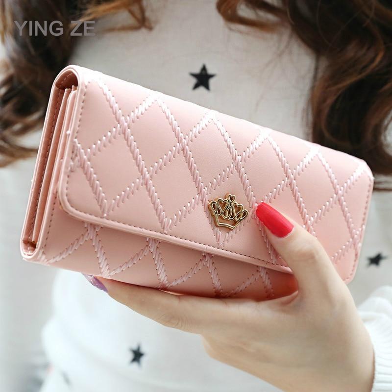 Women Wallets Money-Bag Coin-Purses Clutch Credit-Card-Holder Thread Zipper Female Long