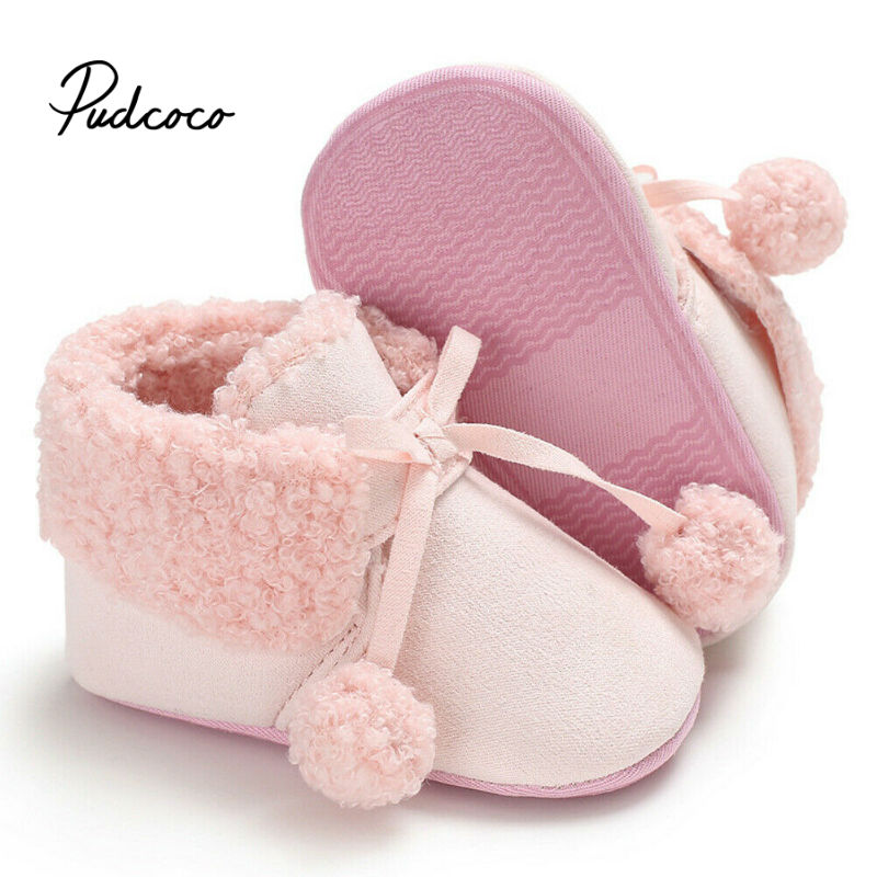 Brand Winter Fur Warm Baby Girls Boys First Walkers For Newborn Soft Sole Non-Slip Infant Cartoon Pom Pom Cotton Shoes Sneakers