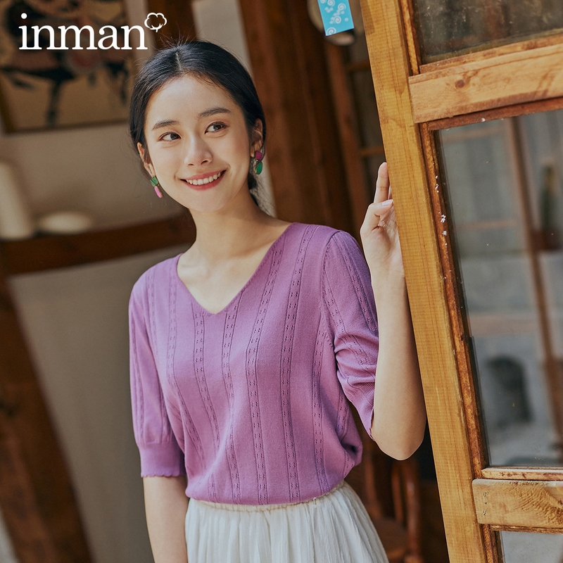 INMAN 2025 Spring New Arrival Literary Dimple Series V-neck Nipped Waist Show Slimmed Short Sleeve Base Knitwear