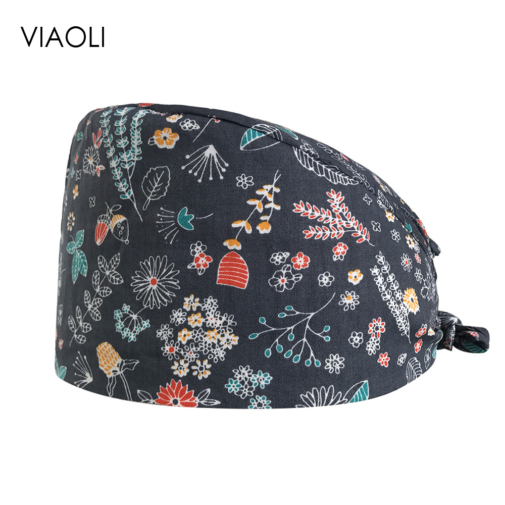 Surgical Caps Unisex Printed Cotton Operating Room Hat Chemotherapy Work Cap Baotou Doctor Nurse Cap Adjustable Medical Work Cap