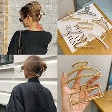 Женская Геометрическая Металлическая Заколка краб для волос