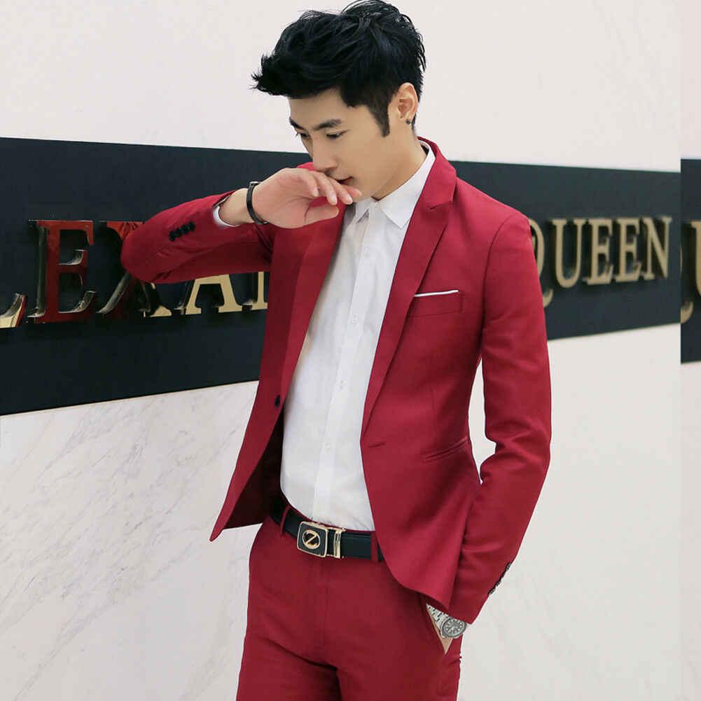 Brand New Men klasyczne formalne garnitur Blazer Slim Fit luksusowe płaszcz kurtka mężczyzna jeden przycisk z długim rękawem zwykły Blazers płaszcz