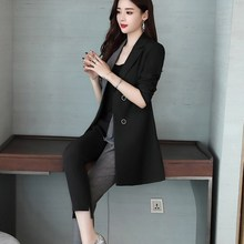 2019 Spring Fall Women Office 2 Piece Trouser Work Suit Casual Blazer Jacket And
