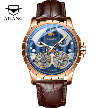 AILANG Double Tourbillon Mechanical Watch Men Business Top Brand Luxury Automatic Watch Waterproof Casual Skeleton Men Clock