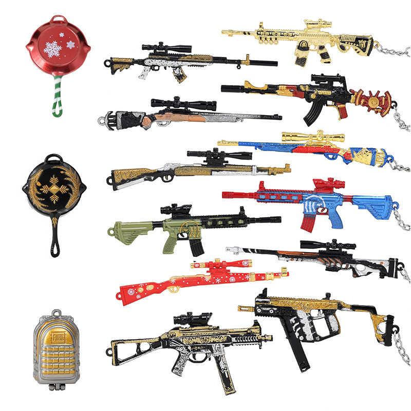 2020 New Hot Game PUBG CS GO Weapon Keychains AK47 Gun Model 98K Sniper Rifle Key Chain Ring for Men Gifts Souvenirs Wholesale