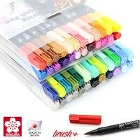 Sakura koi coloração pincel caneta 6 cinza/12/24/48 conjunto de cores flexível marcador de escova água cor caneta água base tinta pintura suprimentos|brush marker -