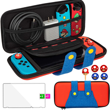 For Nintendo Switch Case Cute Kawaii Design Cover Funny Carrying Bag Joystick Thumb Grip Caps Tempered Glass Cases