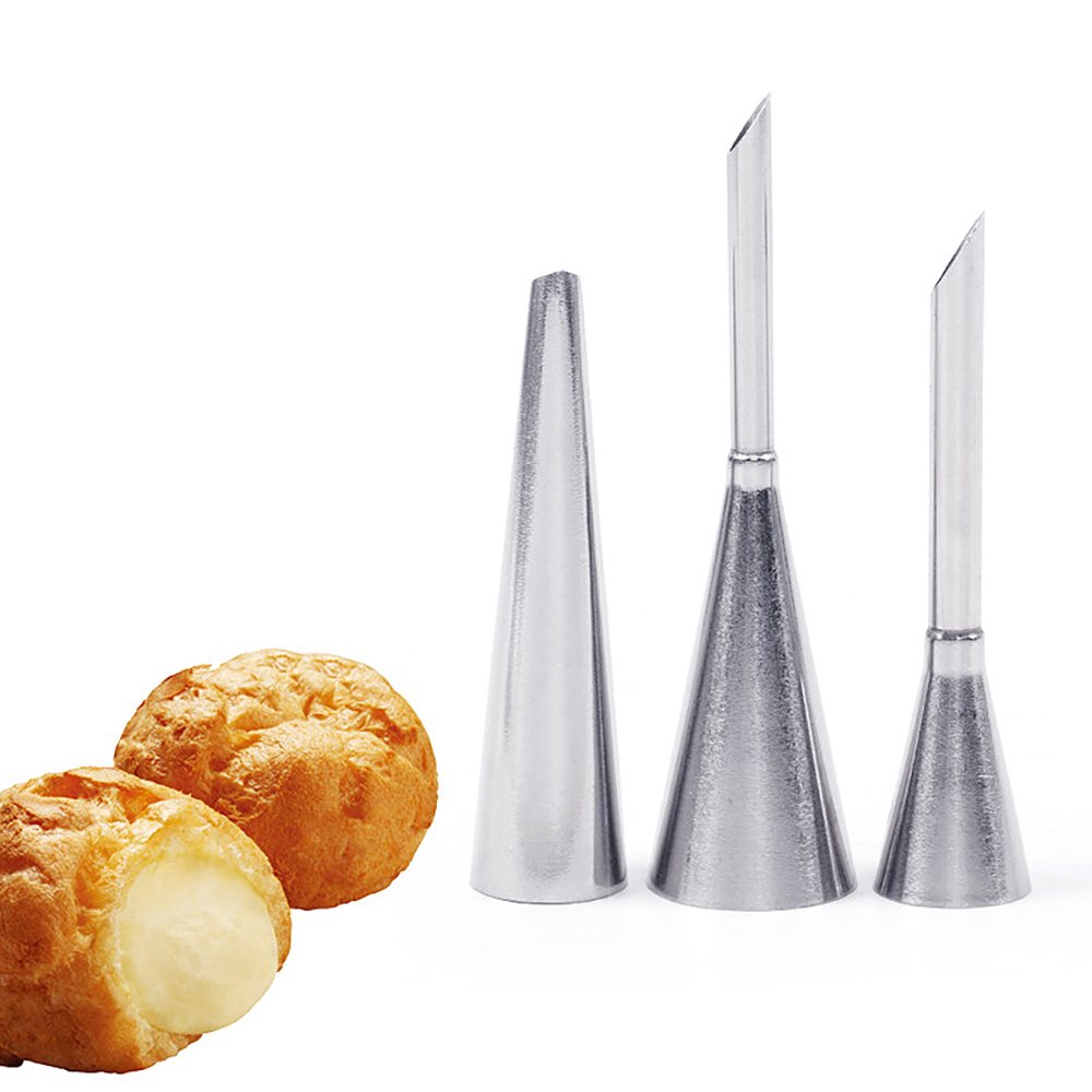 3PCS Piping Bag Nozzles Set Stainless Steel Cupcake Decorating Tips For Puff Cream Pastry Puff Piping Nozzles Flower Device