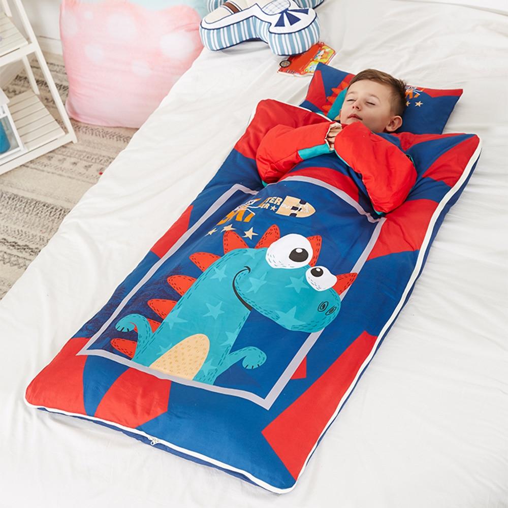 Cotton Baby Kids Sleeping Bag Quilt Toddler Nap Mat With Removable Pillow Winter Baby Anti-Kick Sleeping Bag Cartoon Quilt