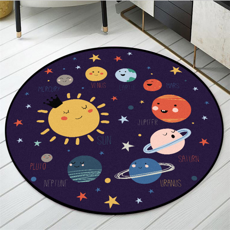 Area Rug For Bedroom Cartoon Space Planet Pattern Round Carpet Rugs For Children Rooms Grey Modern Home Decor 100% Polyester