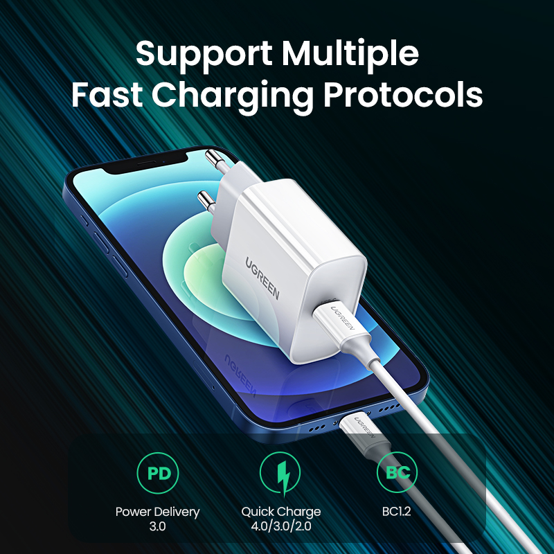 UGREEN Quick Charge 4.0 3.0 QC PD Charger 20W QC4.0 QC3.0 USB Type C Fast Charger for iPhone 13 12 Xs 8 Xiaomi Phone PD Charger 5
