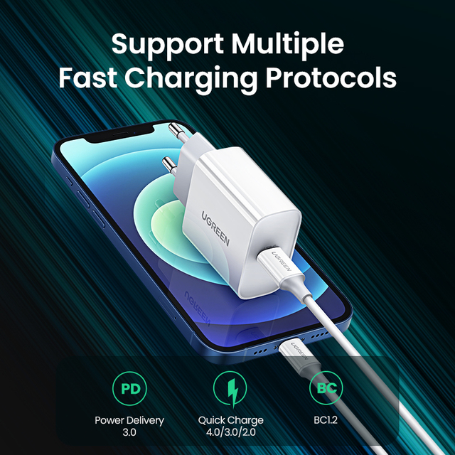 UGREEN Quick Charge 4.0 3.0 QC PD Charger 20W QC4.0 QC3.0 USB Type C Fast Charger for iPhone 12 X Xs 8 Xiaomi Phone PD Charger 5