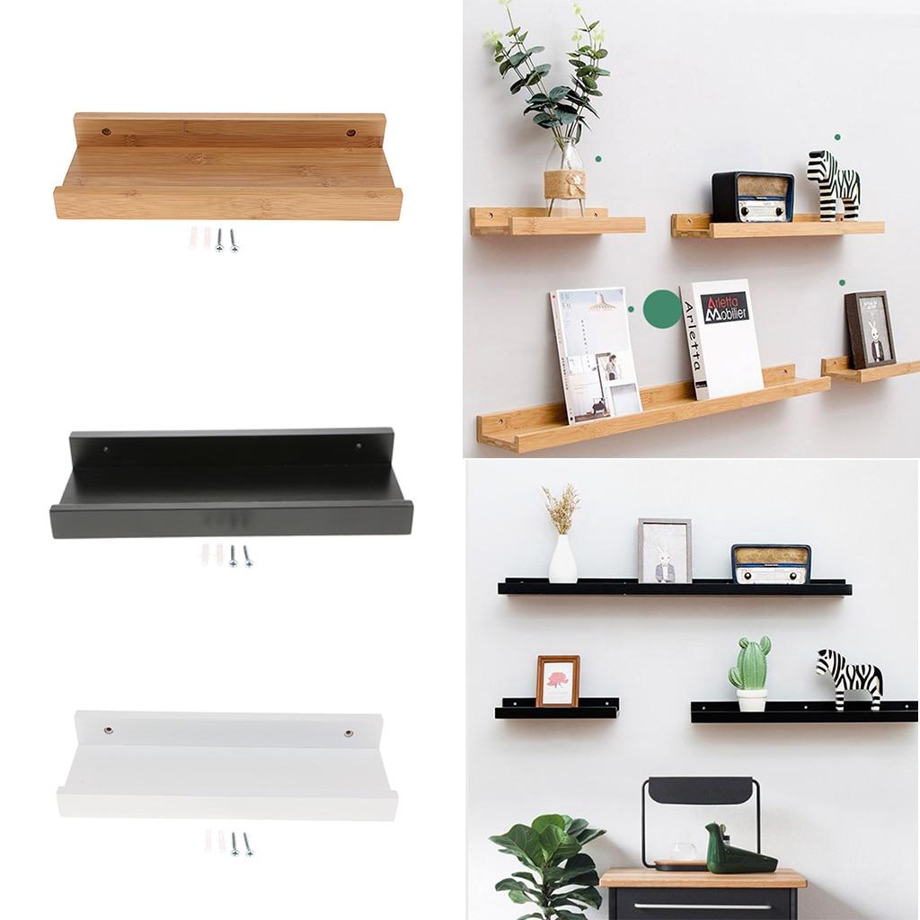 Estantes de madera modernos montados en la pared, estante de almacenamiento flotante, estantes DIY, estante de olla para pared de la habitación del hogar, decoración de pantalla colgante